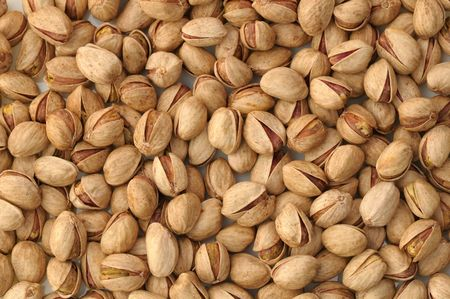 Top view of roasted pistachios in natural light Imagens