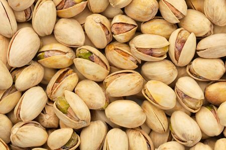 top view of roasted pistachios in natural light