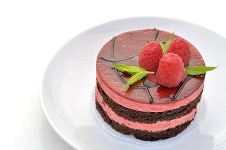 Mousse chocolate and raspberry cake 版權商用圖片