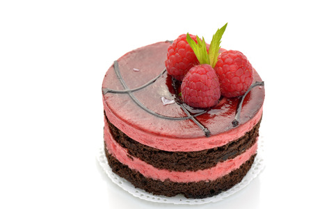 Chocolate and raspberry mousse cake
