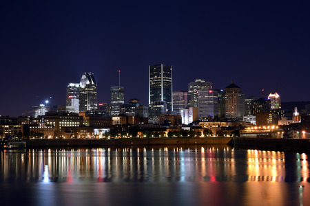 View of old port montreal by night