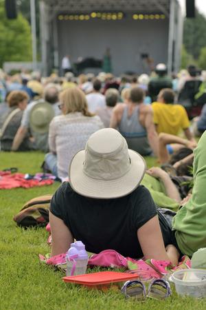 Outdoor free jazz concert on grass in summer