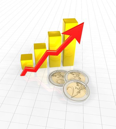 euro coins and chart Stock Photo