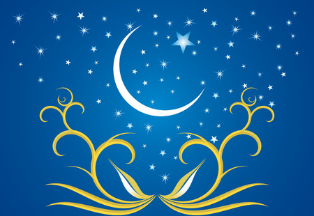 Ramadan evenings. Stars, crescents and mosques. Stock Vector - 7525874