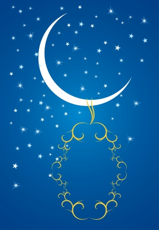 Ramadan evenings. Stars, crescents and mosques. Vector