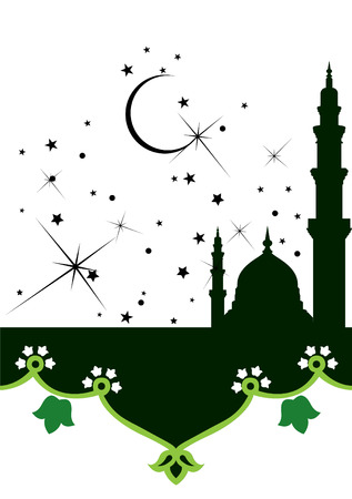 fasting: Ramadan evenings. Stars, crescents and mosques.