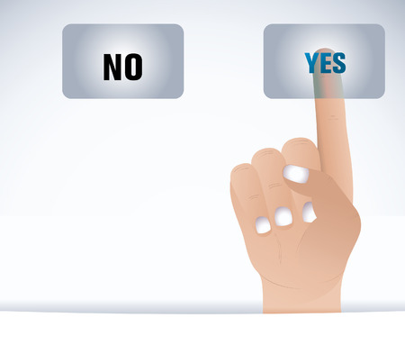 Finger and button yesno  Vector