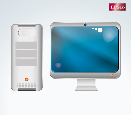 computer and LCD monitor Stock Vector - 8431768