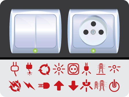 Sockets and switches Stock Vector - 10765669
