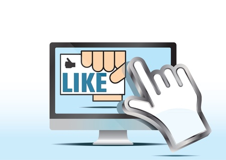 hand cursor and like button Stock Vector - 12023403
