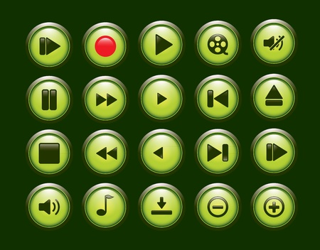 green player button set Stock Vector - 12174024