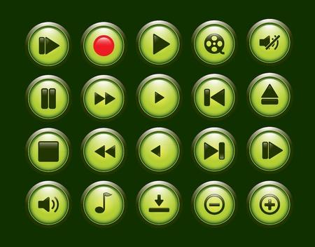 green player button set Stock Vector - 12174024