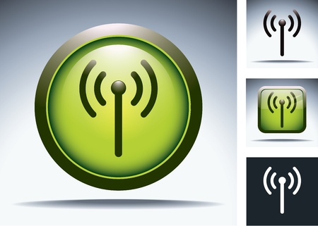telecommunication tower: green wifi button Illustration