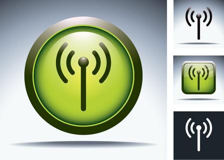 green wifi button Illustration