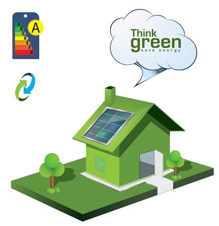 maison solaire: ic�nes de l'�nergie � la maison