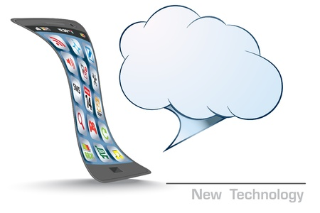 Touchscreen Smart Phone with Cloud of Media Application Icons  Vector Image  Vector