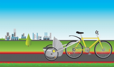 modern city and bike Vector