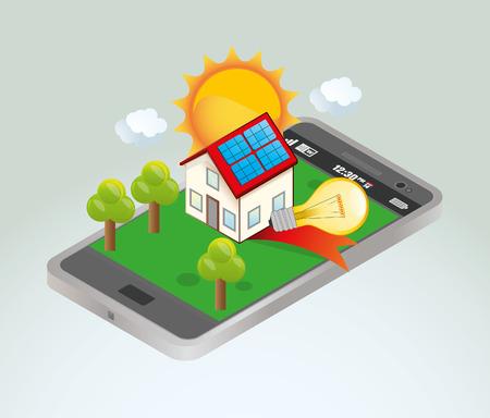 solar panel roof: Solar Energy Illustration
