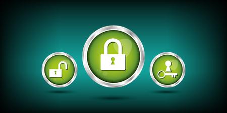 security lock: web button Illustration