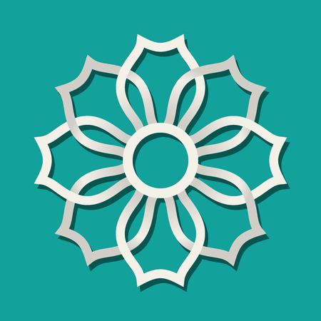 Seljuk pattern vector illustration on green background. Çizim
