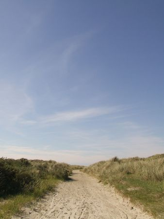 dirtroad: Dirtroad on Schiermonnikoog, Holland Stock Photo