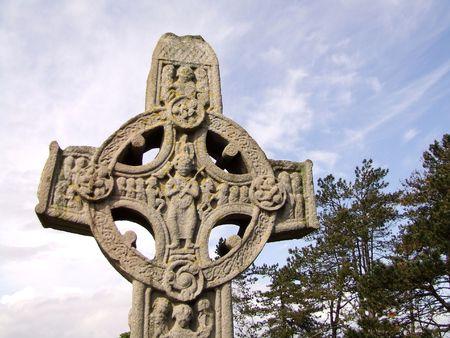 monasteri: Croce celtica, Clonmacnoise, Irlanda Archivio Fotografico