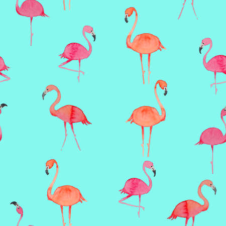 Beautiful seamless floral summer pattern with flamingo. Perfect for wallpapers, web page backgrounds, surface textures, textile.