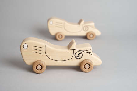 Children toy, an old wooden car. Handmade with love