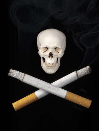 carcinogen: Dos cigarrillos sustituir los habituales huesos cruzados que simbolizan los peligros de fumar.