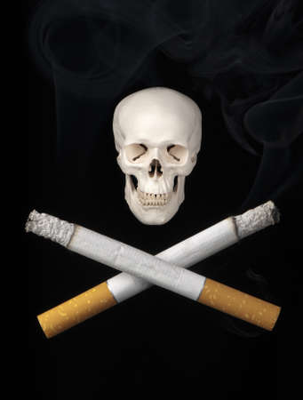 Two cigarettes replace the usual crossbones symbolizing the dangers of smoking.