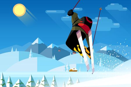 Young man or woman riding on ski skiing on snow in mountains on a sunny winter day with yellow sun, blue sky, fir trees and mountains scenery as background. Flat  illustration in cartoon style.