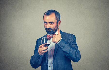 It is a good wine. Happy elegant man winemaker holding a glass of red wine showing thumb up, like gesture with hand. Mixed race bearded model isolated on gray studio wall background with copy space