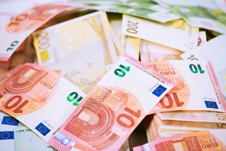 Euro. Money. Closeup cropped image macro photo of European union currency bills, euro banknotes stack, pile. Financial reward, savings, lottery win, payment, bank account concept. Finances, liquidity 스톡 콘텐츠