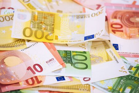 Euro. Money. Closeup cropped image macro photo of European union currency bills, euro banknotes stack, pile. Financial reward, savings, lottery win, payment, bank account concept. Finances, liquidity