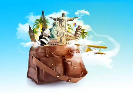 Travel the world concept, different monuments in a travel bag, blue sky and aircarft flying in the clouds around. Artistic design raster illustration photo manipulation Stock Photo