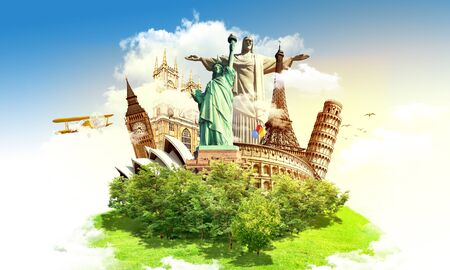 Travel the world concept, different monuments on a green grass island and blue sky, aircarft flying in the clouds around, artistic design raster illustration photo manipulation.