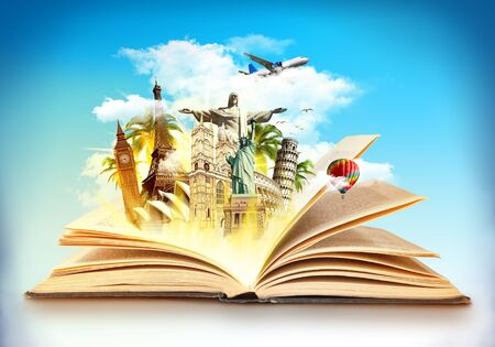 Travel the world concept, different monuments on a globe and blue sky, aircarft flying in the clouds around coming out of an old book, artistic design raster illustration photo manipulation.