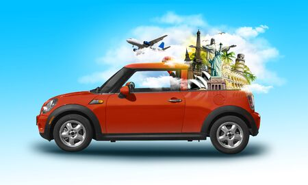 Funny retro car with famous monuments in a car isolated on blue background. Unusual summer travel 3d photo manipulation illustration. Summer vacation concept