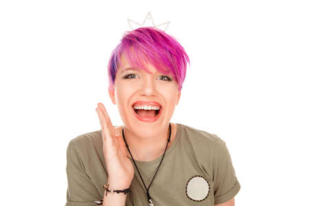 No way. Closeup portrait woman funny girl with party crown looking surprised in full disbelief wide open mouth hand on cheek on white background. Positive human emotion facial expression body language