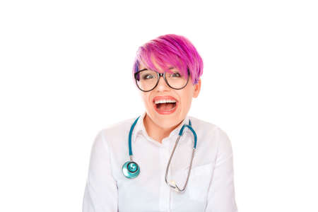 Woman Doctor Nurse with stethoscope laughing toothy smile happy excited isolated on white background. Studio shot horizontal image. Positive facial expression human face emotion body language reaction