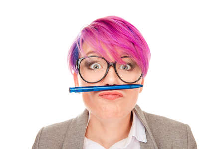 Crazy mad surprised wondered woman with pink hair. Teen age idea draw dreamy people concept Portrait cute sweet lovely pretty funny funky assistant trainee holding pencil with lips on white background