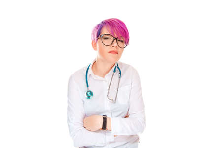 Closeup portrait displeased, angry looking, grumpy female health care professional, doctor woman with bad attitude, arms crossed, isolated white background Negative human emotion, facial expressions