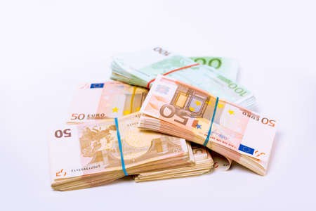 Euro. Money. Stack pile of European union currency bills, euro banknotes. Financial reward, savings, lottery win, payment, bank account concept. Finances, liquidity conceptual image Stok Fotoğraf