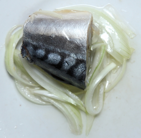 brilliant   undersea: The part of tasty fish with onions is on a plate
