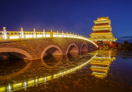 Night view of city garden in Shaanxi, Yulin Province, China
