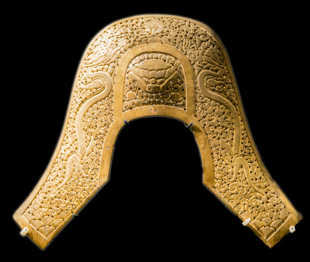 collectible: Beijing City, Chinese Capital Museum, the Qing Dynasty gilt saddle parts Editorial
