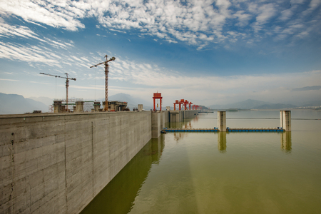yichang: Landscape of dam area of Three Gorges Dam in Hubei, Yichang Province, China