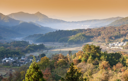 Tachuan autumn scenery at China Anhui Huangshan City Yixian County. Banco de Imagens