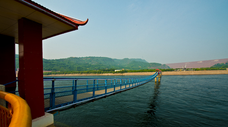 he: Chinas Henan Province, Jiyuan City, the Yellow River Xiaolangdi Dam scenery Stock Photo