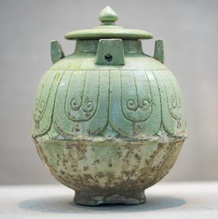 green glazed porcelain jar at anyang museum Editorial